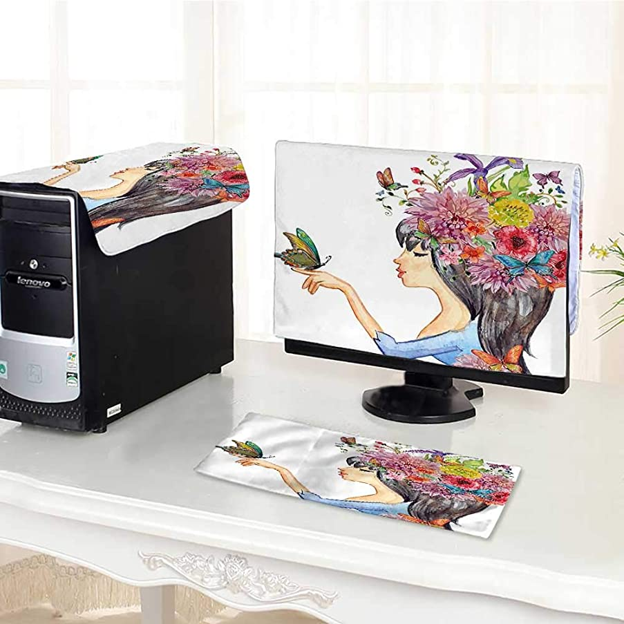 Computer Cover 3 Pieces Colorful Spring Flowers Leaves with a Long Haired Woman Butterfly Art Image Multicolor Antistatic, Water Resistant /20