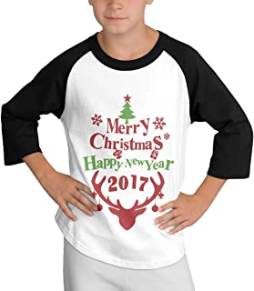 YUNLIHO Geek Custom Merry Christmas and Happy New Year Baseball Tshirts O-Neck for Hobbledehoy Black