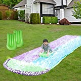 Babigo 15.8Ft Water Slip and Slides with 2 Inflatable Crash Pads, Double Race Slip n Slides Play Center with Splash Sprinkler for Children Backyard Swimming Pool Games Outdoor Summer Water Toys