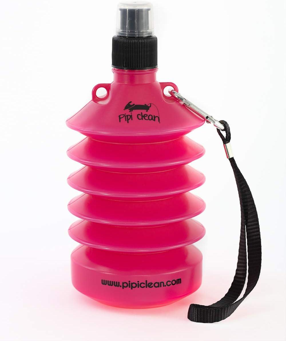 Pipi Clean Botella higienizante Plegable para Limpiar el PIS de los Perros | Limpiador orina Pipi Mascotas (Rosa Snoopy)