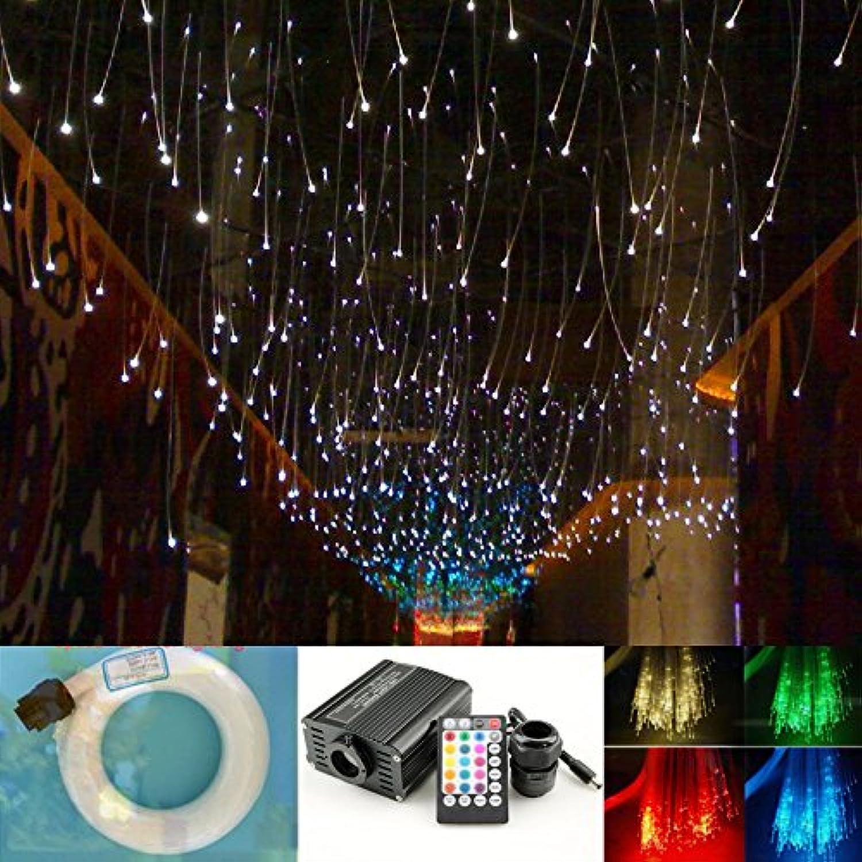 16W Star Ceiling Light Fiber Optic Kit, 28 Keys Sound Sensor Music Mode RGBW Remote + Mix 335pcs Fibre Optical (0.75mm+1mm+1.5mm) 9.8ft 3m Long