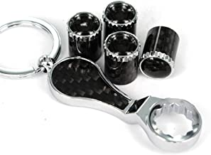 Ezzy Auto Pack of 4 Carbon Fiber Universal Wheel Tire Valve Stem Air Caps Covers with Wrench Keychain fit for Honda Toyota Dodge Mazda