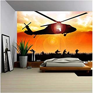wall26 - Helicopter is Dropping The Troops - Removable Wall Mural | Self-Adhesive Large Wallpaper - 66x96 inches