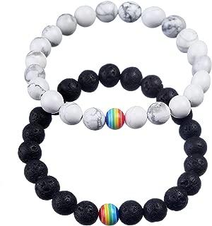 ASHMITA 8mm Lava Stone Bracelet Men Women Rainbow Bead Distance Bracelets for Couples