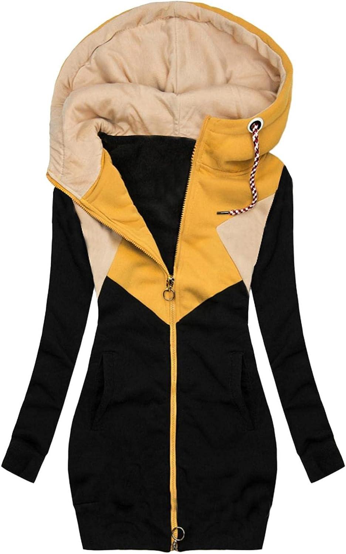 FABIURT Sweatshirt for Women Zip Up,Womens Fashion Casual Hoodie Long Sleeve Hooded Sweatshirt Pockets Jacket Coat Tops