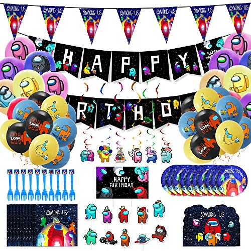 among-us-game-103-pcs-birthday-party-supply-set-for-kidsparty-favors-party-supplies-includes-happy-birthday-banner-balloons-cake-topper-cupcake-topper-plastic-swirls-balloons-for-party-decorati