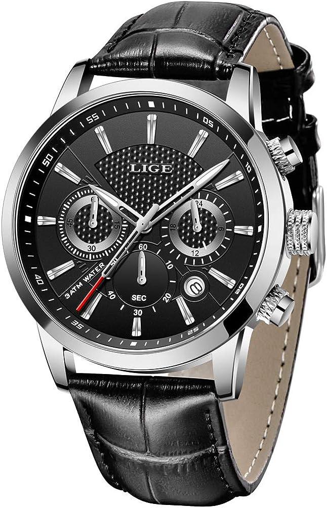 LIGE - Reloj analógico de Cuarzo para Hombre, Resistente al Agua, cronógrafo, Reloj de Pulsera de Cuero marrón, Calendario