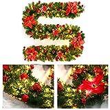 Konesky Guirnalda de Navidad, Corona de 270 cm Abeto Artificial Guirnalda de Ratán Artificial Brillante de Navidad con Lámpara LED Decoración para árbol de Navidad Puerta Escalera Chimenea (Rojo)