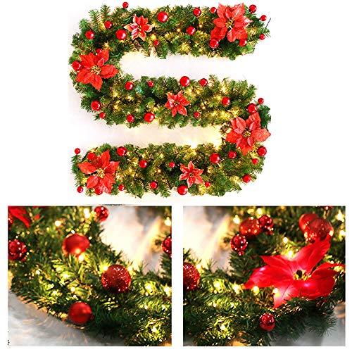 Konesky 270cm Guirlande Artificielle Sapin Lumineux Noël Rotin Artificielle Guirlande avec Décoration De La Lampe LED pour Arbre De Noël Porte Escalier Cheminée (Rouge)