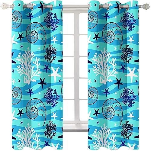 Daesar Cortinas Habitacion Opacas Azul Cortinas Poliester Habitacion Estrella de Mar Caracola y Coral 274x115CM