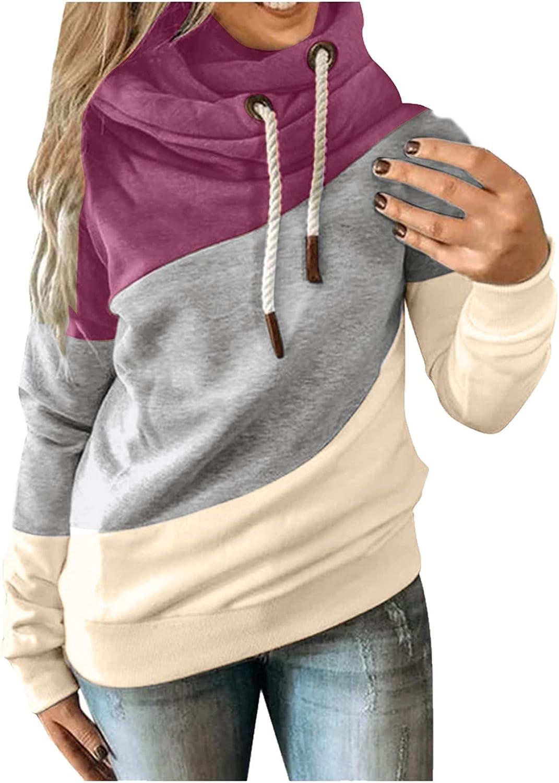 Womens Sweatshirt Oversized Turtleneck Long Sleeve Drawstring Hoodie Patchwork Color Block Sweatshirt for Women Graphic