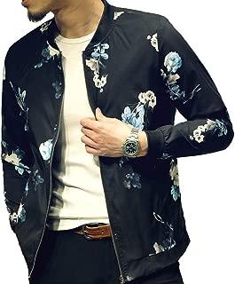 Mens Casual Lightweight Jacket Stylish Fashion Printed Pattern Slim Fit Bomber Jacket Varsity Coat with Zipper