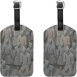 PU Leather Luggage Tags 2PCS with Qin Shi Huang Terracotta Warriors for Suitcase Travel Bag