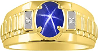 RYLOS Mens Designer Style Oval Gemstone & Genuine Sparkling Diamond Ring in 14K Yellow Gold - 8X6MM Color Stone
