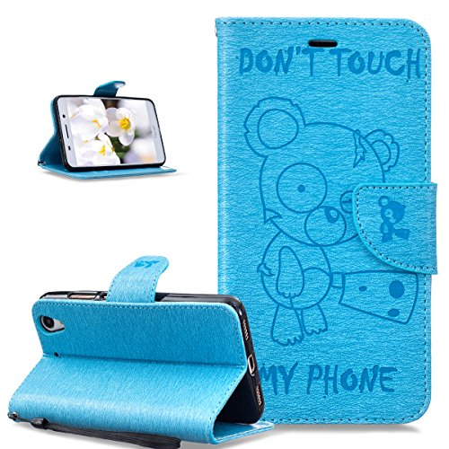 Coque Huawei Y6 II,Etui Huawei Y6 II,ikasus Gaufrage Tronçonneuse ours Don't Touch Py Phone Housse Cuir PU Etui Housse Coque Portefeuille supporter Flip Case Etui Housse Coque pour Huawei Y6 II,Bleu