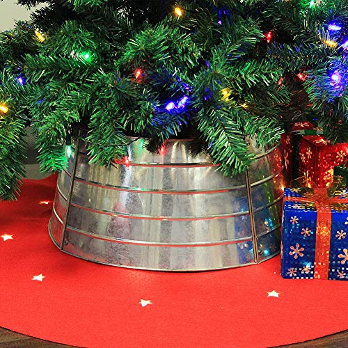 Blissun Christmas Tree Collar, Metal Christmas Tree Ring, Willow Tree Skirt for Christmas Tree Decorations (Silver)