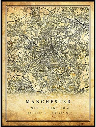 Manchester map Vintage Style Poster Print Old City Artwork Prints Antique Style Home Decor United product image