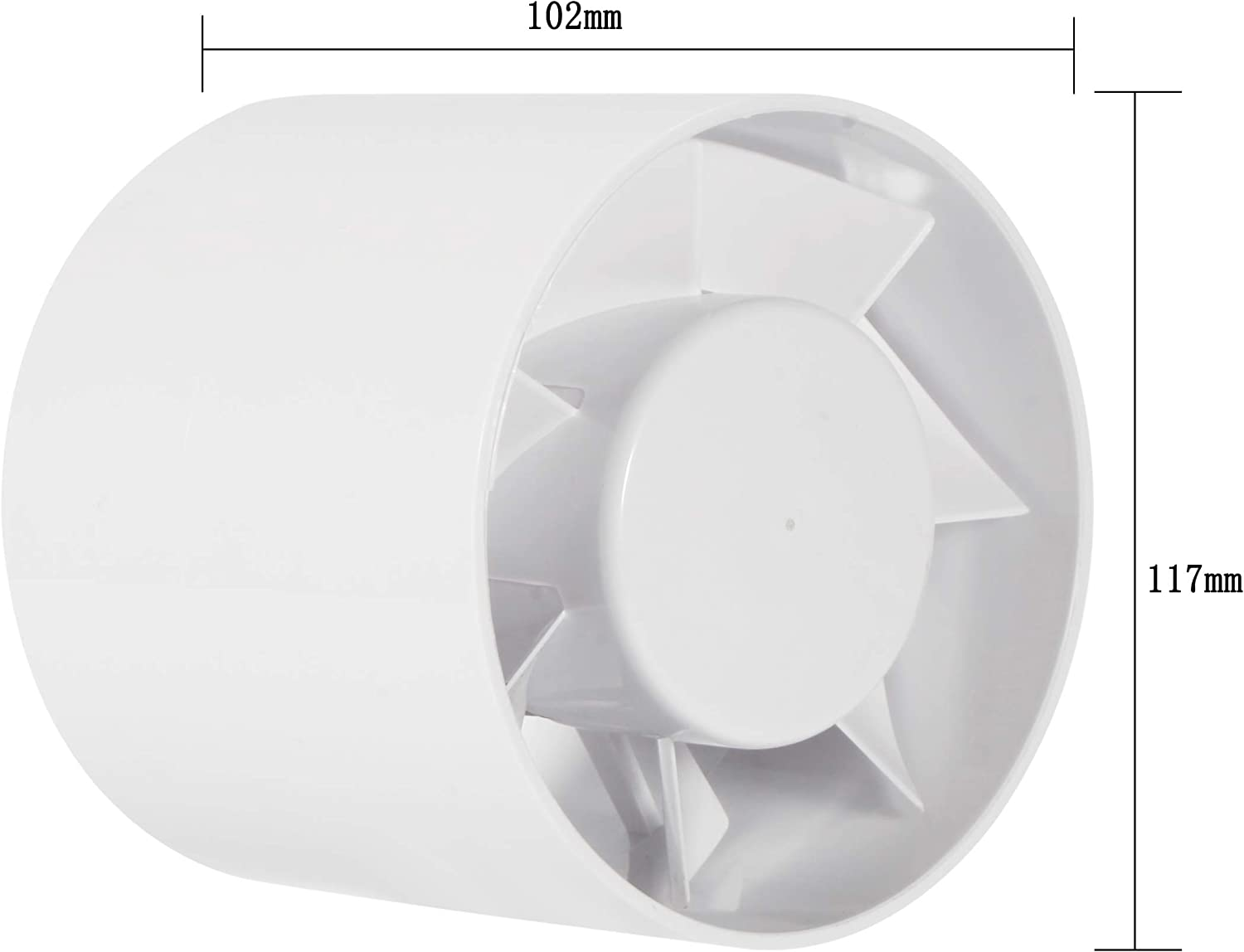 Intake Quiet Mixed Flow Energy Efficient Blower for Air Circulation in Ducting Grow Tents Hon/&Guan 6 Inline Vent Blower 147CFM Vents