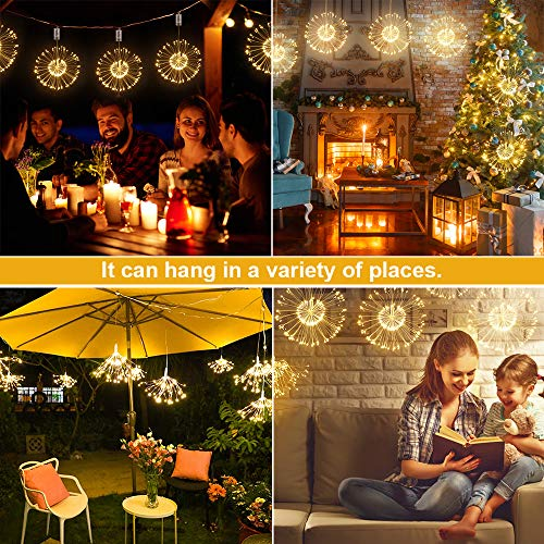 Firework Lights, Homga 4 Pack String Lights 600 LED Starburst Lights Copper Wire Lights, 8 Modes Battery Operated Fairy Lights with Remote, Waterproof Decorative Hanging Lights Party Garden Christmas 7