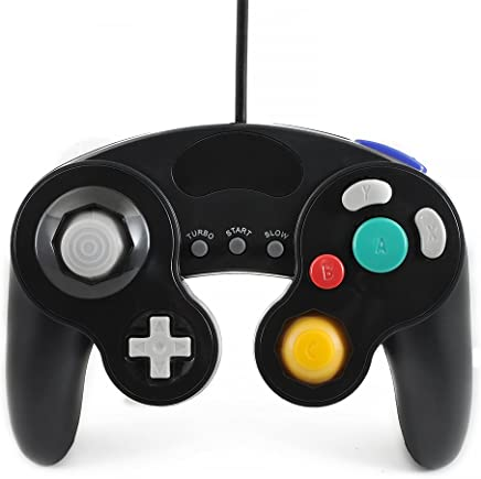 QUMOX black wired classic controller joypad gamepad for nintendo gamecube gc & wii (Turbo Slow Feature)