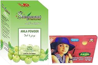 Sanjeevani Pure Indian 100% Natural Amla Powder 100gm With Kalya Red Sandal Powder - Rakthachandanam Skin Care Powder 25 Gm