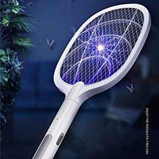 Electric Fly Swatter, 3000V Electric Fly Swatter USB Rechargeable Fly Swatter Super Powerful Fly Swatter For Mosquitoes, F...