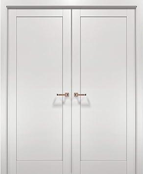 French Double Interior Doors 48 X 80 With Hardware Quadro 4111 White Ash Panel Frame Trims Bathroom Bedroom Interior Sturdy Door Amazon Com