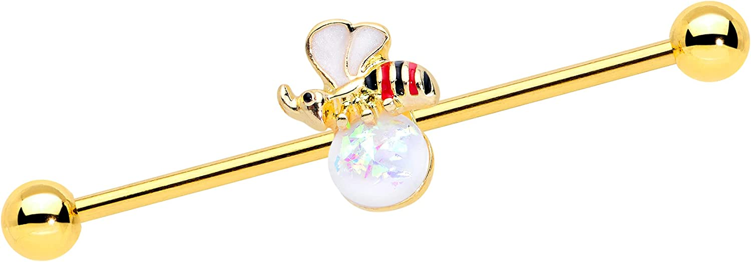 Body Candy Womens 14G PVD Steel Helix Cartilage Earring White Accent Insect Industrial Barbell 1 1/2