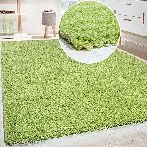 Paco Home Hochflor Shaggy Langflor Teppich versch. Farben u. Grössen TOP Preis NEU*OVP, Farbe:Grün, Grösse:70x140 cm