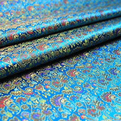 Tela de Seda Brocada China, 90 cm x 100 cm, Vendido por Metro (Azul)