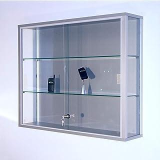 Vitrine murale LINK - 2 tablettes, portes coulissantes - h x l x p 800 x 1000 x 200 mm - armoire vitrée armoires vitrées v...