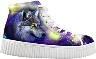 HUGS IDEA Fashion Colorful Galaxy Women Shoes Platform Sneakers