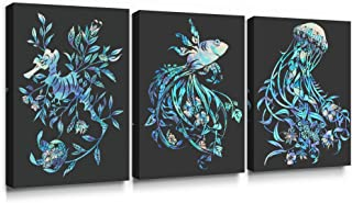 SUMGAR Blue Wall Art Sea Life Art Prints Original Productions Pictures of Plants Home Decor for Living Room 3 Piece,12x16 inch