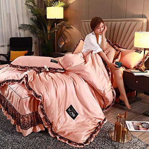 juegos de sábanas de 80,Falda de cama de cuatro piezas funda nórdica de encaje de seda lavada colcha antideslizante de seda de hielo ropa de cama de seda de primavera y verano-GRAMO_Cama de 1,8 m (4