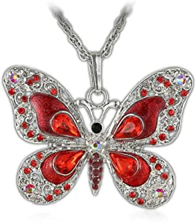 Aysekone Beautiful Alloy Rhinestone Butterfly Long Necklaces Sweater Necklace Fashion Enamel Butterfly Necklace for Women Girls(Red)