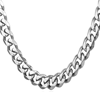 "U7 Men Stainless Steel Chain Black Color/18K Gold Plated Cuban Curb Necklace,Length 18""-30"", Width 3mm 6mm 9mm 12mm"