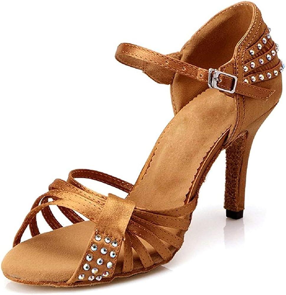 DLisiting Womens Latin Dance Shoes Ballroom Satin Rhinestone Per