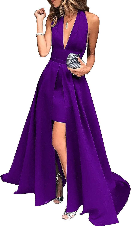 Weddder Prom Dresses 2018 HighLow Halter VNeck Open Back Satin Formal Evening Gowns