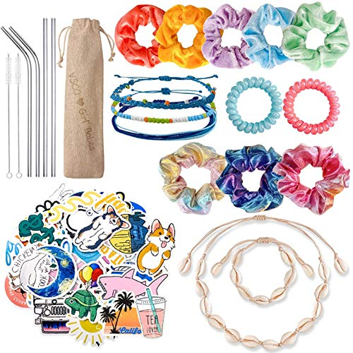 JAZIPO VSCO Girl Stuff Hair Scrunchies Velvet 50 Pack Waterproof Cute VSCO Stickers for Hydro Flask Shell Necklace Bracelet Friendship Bracelet Stainless Steel Straws with Case VSCO Girl Starter Pack