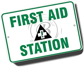 Brotherhood Green and White First Aid Station with Cross Symbol 8x12 Metal Sign