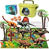 Gzsbaby Dinosaur Toys- 28 PCS Educational Realistic Dinosaur Figures for 6 5 4 3 Years Old Boys Girls Kids with Activity Play Mat and Dinosaur Book (28pcs Dino Play Set)