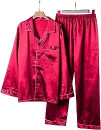 Homme 2 Pièces Pyjama Satin Manches Longues Vêteme