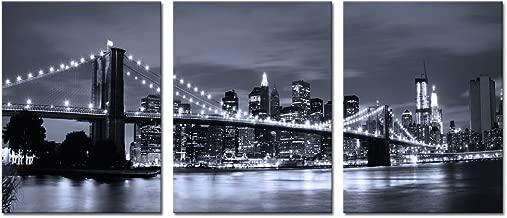Visual Art Decor Landscape Canvas Prints Black and White New York Cityscape Art Brooklyn Bridge Canvas Prints Living Room Wall Decor Art (01 Brookly Bridge) (3 Pieces)