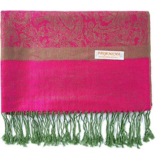 Becolored Pashmina-Schal aus Seide, Paisleymuster, Jacquard, Kaschmir-Stola, zweifarbig, wendbar - Pink - Groß