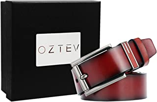 Oztev Men's Soft and Durable Leather Pin Buckle Belt