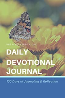 Daily Devotional Journal: One Bible Verse a Day - 100 Days of Bible Journaling and Reflection - Butterfly Spring Flowers