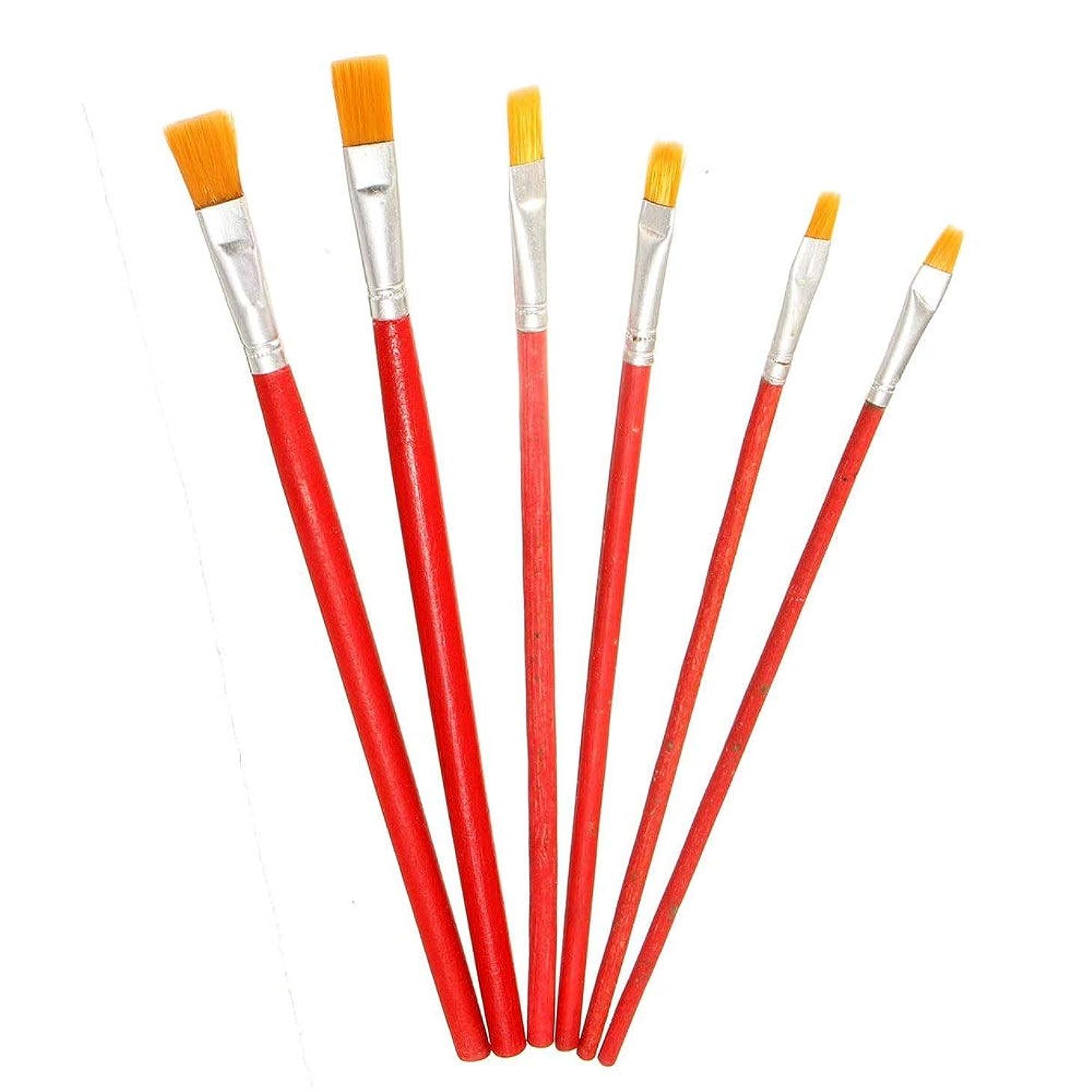 推測する悲しむコンパイル水彩画筆 ブラシを絵画ナイロンヘアオイルペイントセットフラットヘアブラシ学生アート絵画アーティストの絵画のためのセットごとに6 /個入り 用子供学生初心者 デザイン画 (色 : 赤, Size : 6pcs)