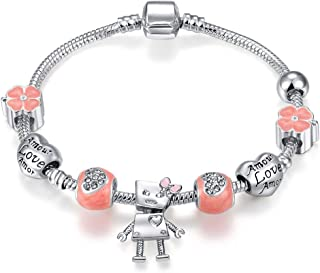 Qings Silver Plated Snake Chain Sweet Pink Crystal Beads Little Girl pendant charm bracelet for women Girls Jewelry Gift 18cm