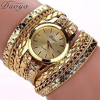 AutumnFall Women Bohemian Bracelet Woven Braided Handmade Wrap Bracelet Flower Gemstone Wristwatch (Gold)