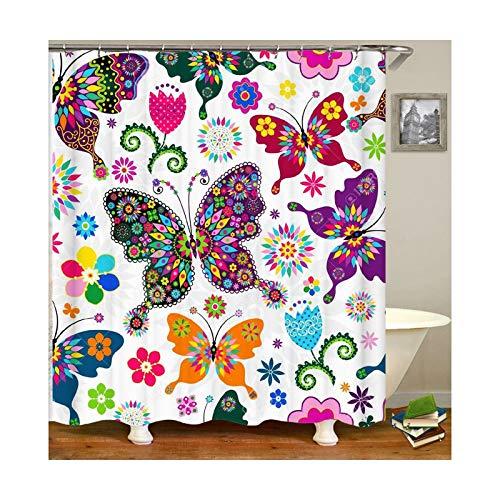 Daesar 3D Anti Schimmel Duschvorhang 120x180 Schmetterling Duschvorhang Waschbar aus Polyester-Stoff
